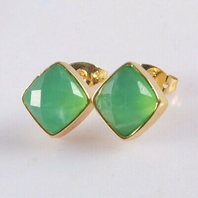 10mm Natural Chrysoprase Faceted Bezel Stud Earrings Gold Plated T075405