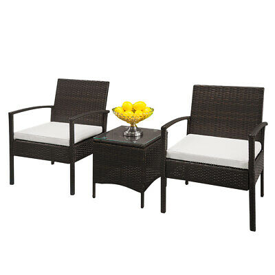 3pc Rattan Wicker Bistro Sofa Set Table Chair Outdoor Patio Furniture Outdoor US