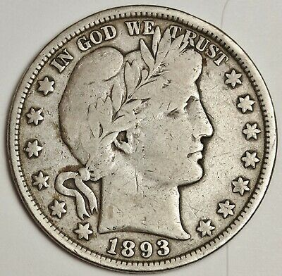 1893 Barber Half.  About Fine.  134753