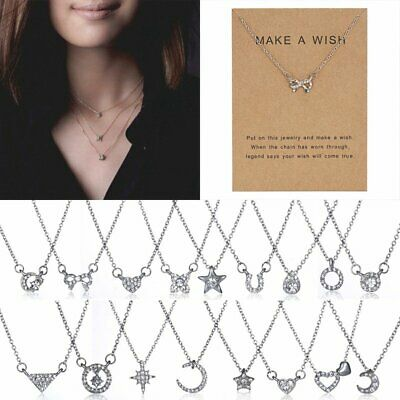 Women Card Necklace Silver Heart Moon Star Pendant Ladies Clavicle Chain Choker