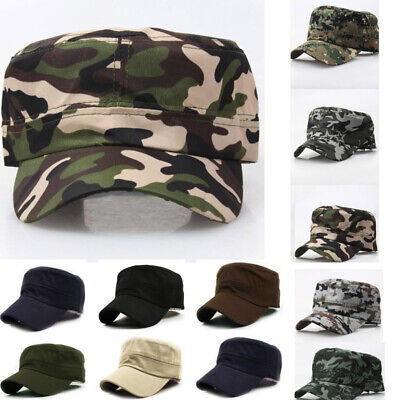 Outdoor Camo Tactical Plain Vintage Army Military Cadet Style Cap Hat Adjustable