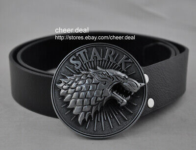 3D Game Of Thrones Stark Cowboy Belt Buckle with Men Faux Genuine Leather Belt