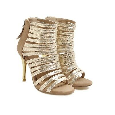 Plus SZ Open Toe Cut Out High Heels Roman Shoes Womens Sexy Gladiator Sandals