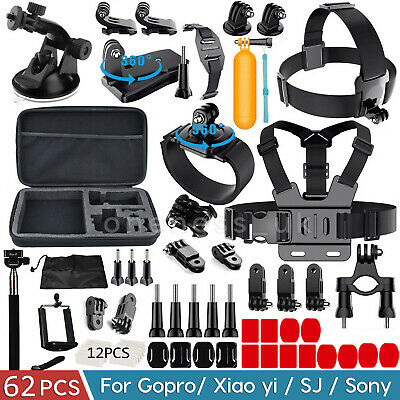62 Pcs Accessories Set Kit For GoPro Hero 7 6 3+ 4 5 SJCAM Head Chest Strap Pole