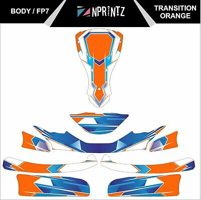 Fp7 Transition Orange  Full Kart Sticker Kit - Karting - Otk - Rotax Iame