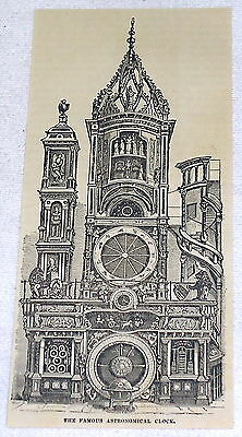 1882 magazine engraving ~ THE FAMOUS ASTRONOMICAL CLOCK ~ Strasbourg