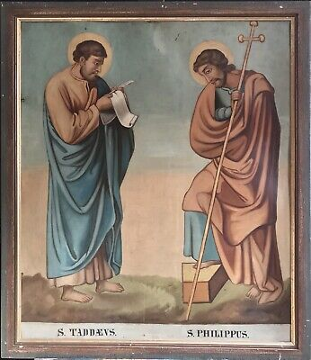 Huge Antique Religious Oil Painting On Metal - Two Saints Standing In Landscape