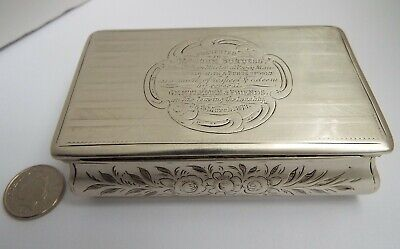 Superb Large Antique Victorian 1852 Solid Sterling Silver Presentation Snuff Box