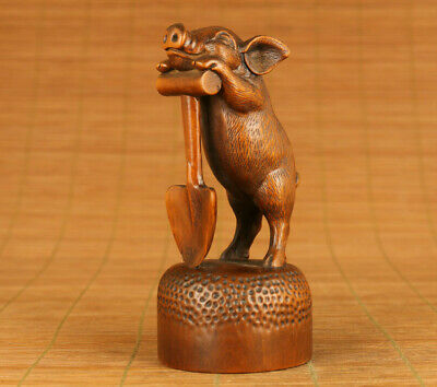 antique chinese old boxwood hand carved pig statue netsuke collectable