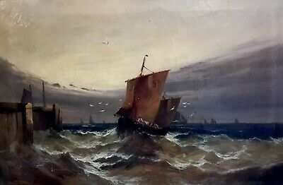Fine Large Victorian English Marine Signed Oil Painting - Shipping In Rough Seas