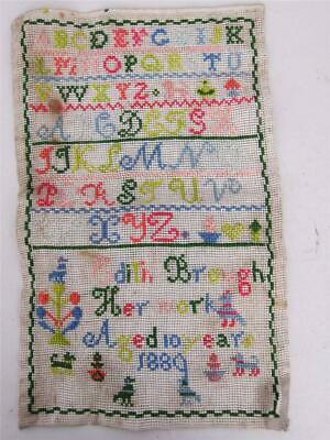 ANTIQUE NEEDLEWORK EMBROIDERY SAMPLER SIGNED & DATED 1889 silkwork tapestry d
