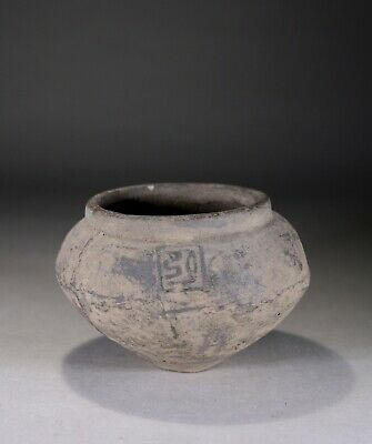 Antique Chinese Black Pottery Vase Han Dynasty