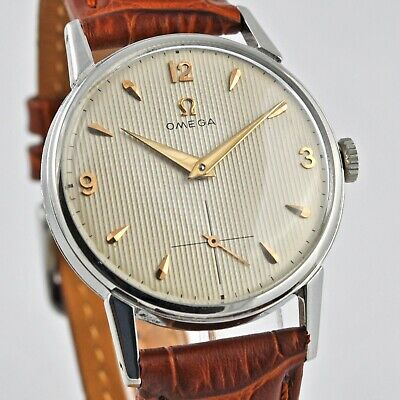 Authentic Omega W/ Striped Dial Manual Wind St Steel Vintage Swiss Gents Watch