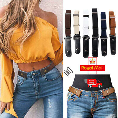 Womens Mens Buckle-Free Elastic Belts Invisible Belt for Jeans No Bulge Hassle