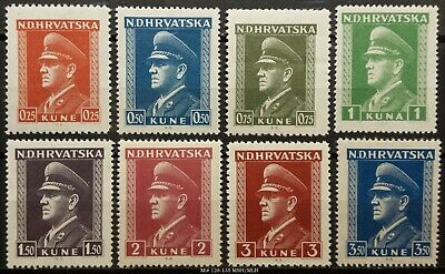 Croatia N.D.Hrvatska Kroatien Mi# 128-135 (MLH) 1943/44 (part of series)