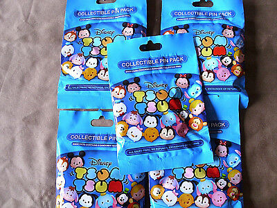Disney * TSUM TSUM SERIES #1 * 5 PACKS * NEW 5-pin Collectible Mystery Pack Pins