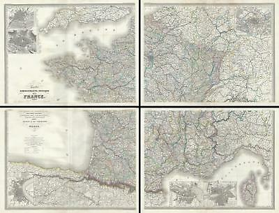 1860 Dufour Wall Map of France (Set of 4 maps)