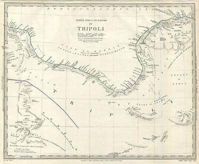 1837 S.D.U.K. Map of Tripoli, Libya on the Barbary Coast, Northern Africa
