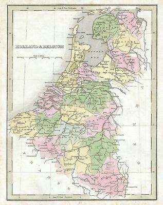 1835 Bradford Map of Belgium and Holland (Netherlands)