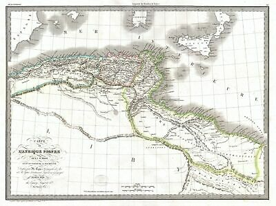 1829 Lapie Historical Map of Empire of Carthage ( Modern Tunisia )