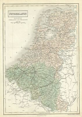 1851 Black Map of Belgium and Holland (Netherlands)