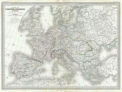 1860 Dufour Map of Europe and The French or Napoleonic Empire