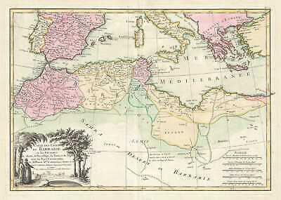 1762 Bonne Map of the Mediterranean and the Maghreb or Barbary Coast, Africa