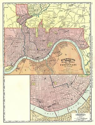 1891 Rand McNally Map or Plan of Cincinnati, Ohio