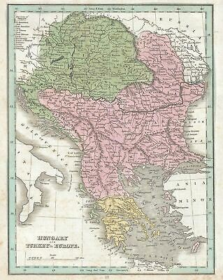 1835 Bradford Map of Hungary, European Turkey, Greece and the Balkans