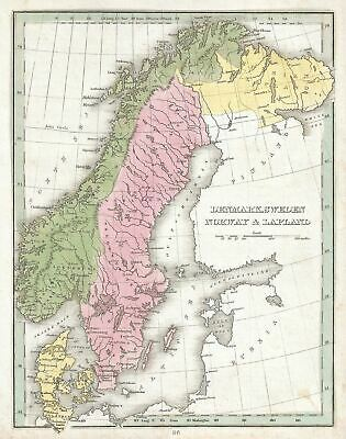 1835 Bradford Map of Denmark, Sweden and Norway (Scandinavia)