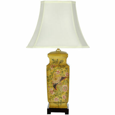 "27.5"" Birds and Flowers Wooden Design Porcelain Lamp"