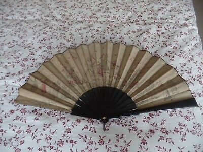 Old antique fan with kate Greenaway style paintings of childrens games