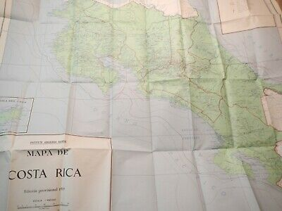 "1949 Vintage Map Of Costa Rica Wall Map 46"" X 42"" In Great Shape In Spanish"