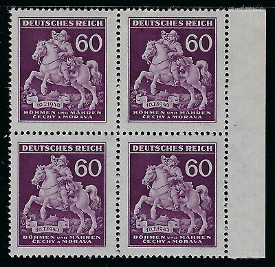 Bohemia & Moravia WWII Occupation 1943 Postage Stamp Day Block of Four VF MNH!