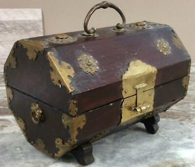 Antique Qing Dynasty Tea chest trunk box brass copper wood caddy Chinese trunk