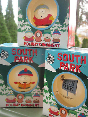 3 South Park Holiday Ornaments Comedy Central 1998 Cartman Kenny Dead Stan Stick