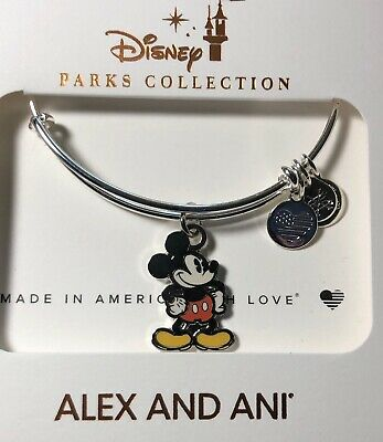 Disney Parks Alex And Ani Mickey Mouse Silver  Bracelet