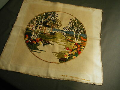 "1988 Finished Sunset Design Crewel Landscape Scene - Ready To Frame - 13"" W - 45"