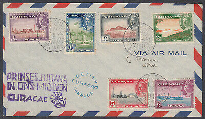 Curacao Multi-franking Registered / Censor Airmail; Prinses Juliana cachet; 1944