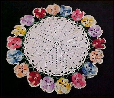 """Vintage Antique Hand Crocheted Lace Doily Tablecloth Pansies 9"""" 1940s Find"""