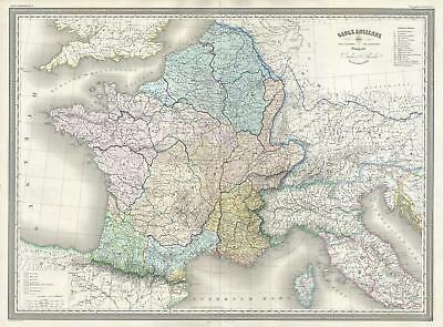 1860 Dufour Map of Gaul or France in Ancient Roman Times