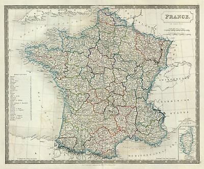 1835 Hall Map of France