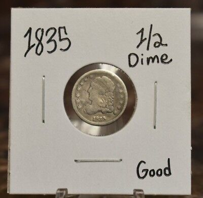 1835 Capped Bust Half Dime Good Circulated 1835-P G H10C US Silver Type Coin