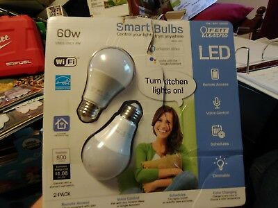 Feit Electric Wi-Fi LED Color Changing Dimmable Smart Bulb 2 Pack | 60 Watts