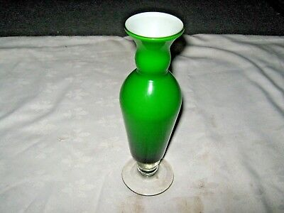 A Vintage Retro 70's Small Green Art Glass Goblet Bud Vase