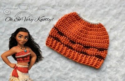 DISNEY S MOANA-INSPIRED HANDMADE Crochet Winter Messy Bun Hat ... 315214c5d01