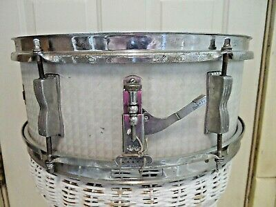 Vintage 1965 Ludwig White Marine Pearl 6 Lug 14x5 Snare Drum with Case & More