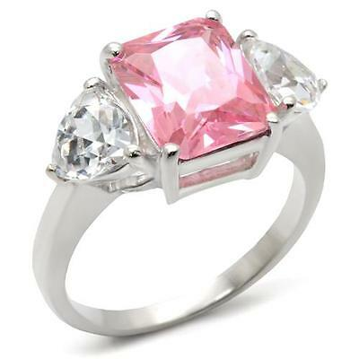 Sterling Silver Pink Ring Simulated Tourmaline Cubic Zirconia Size 7 9 10