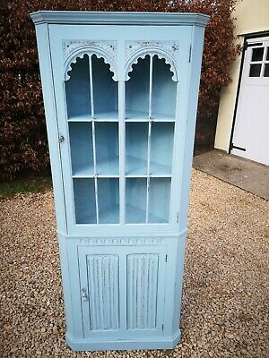 Lightly Distressed Solid Oak Old Charm Corner Unit In Stone Blue Farrow And Ball
