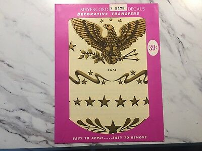 "Vintage NEW OLD STOCK Meyercord Decal Transfer American Eagle 6.75x8.75"" X547-B"